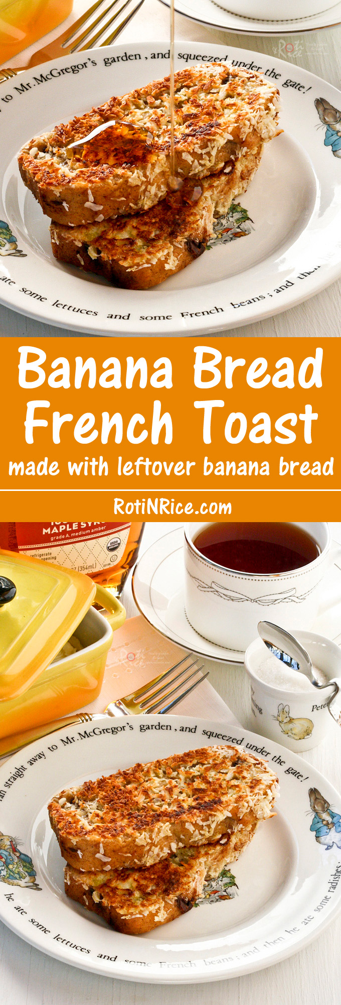Make this Banana Bread French Toast for a weekend breakfast treat or dessert. It is so fragrant and delicious. You will not be disappointed! | RotiNRice.com