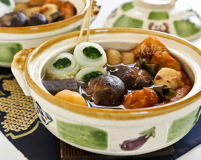 Oden is the quintessential Japanese one pot simmered dish consisting of daikon radish, konnyaku, and fish cakes stewed in a light soy flavored dashi broth. | RotiNRice.com