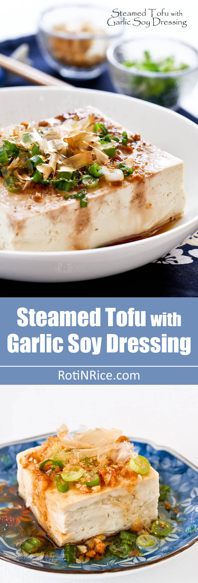 Steamed Tofu with Garlic Soy Dressing - a healthy delicious side dish to go with rice. Can be prepared in under 15 minutes in the microwave. Video instructions. | RotiNRice.com