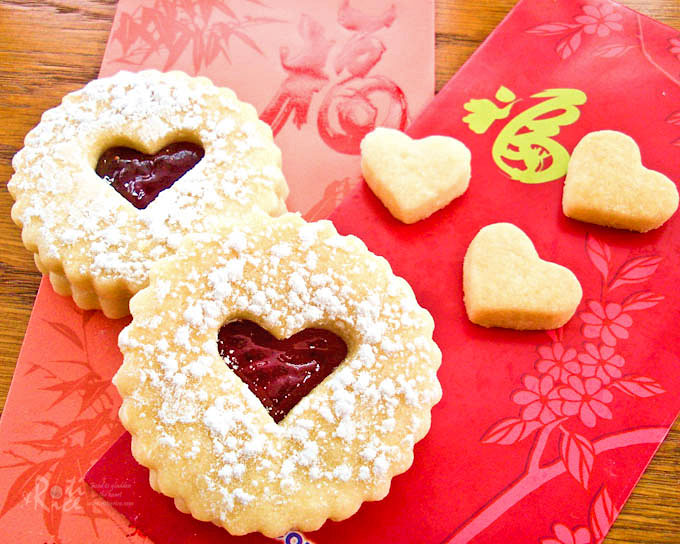 Buttery egg-free Valentine Linzer Cookies with strawberry jam for your ...
