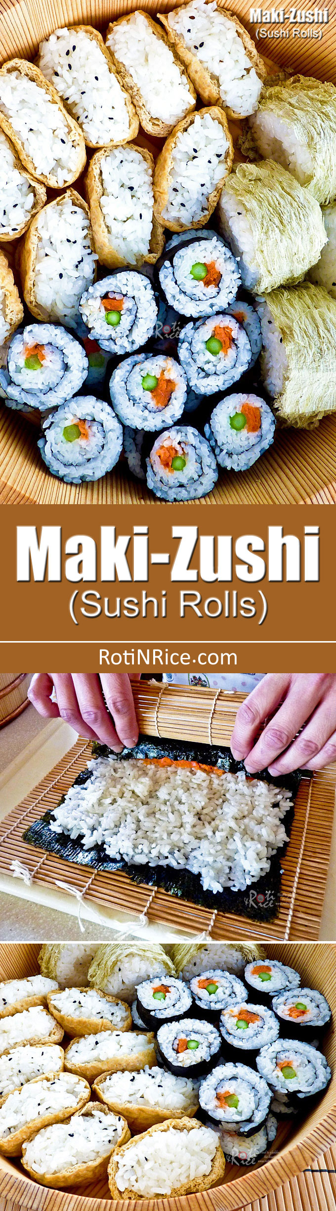 Simple and tasty homemade rolled sushi or Maki-zushi filled with Nova lox and tender asparagus. Full instructions with step-by-step pictures. | RotiNRice.com