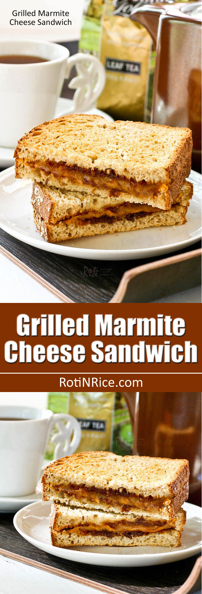 Rich savory Grilled Marmite Cheese Sandwich with lots of umami flavor. Makes a quick and satisfying breakfast or snack served with your favorite cup of tea. | RotiNRice.com