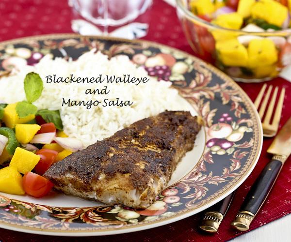 Blackened Walleye and Mango Salsa