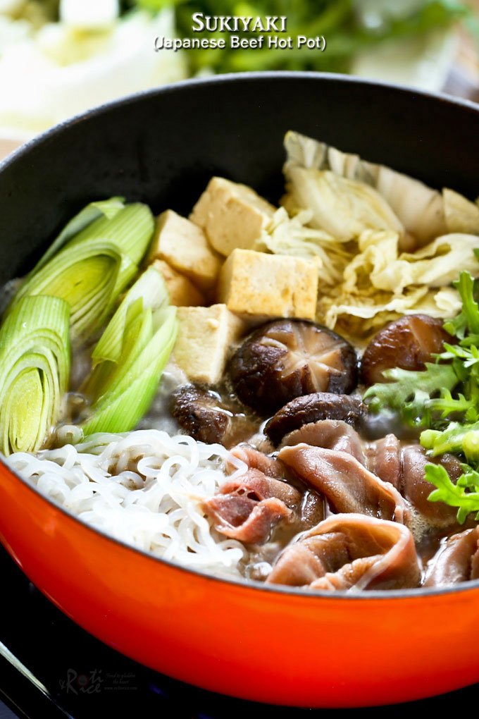 Enjoy Sukiyaki, a popular Japanese Beef Hot Pot often cooked and served at the table, in the comfort of your own home. Especially satisfying on cooler days. |RotiNRice.com