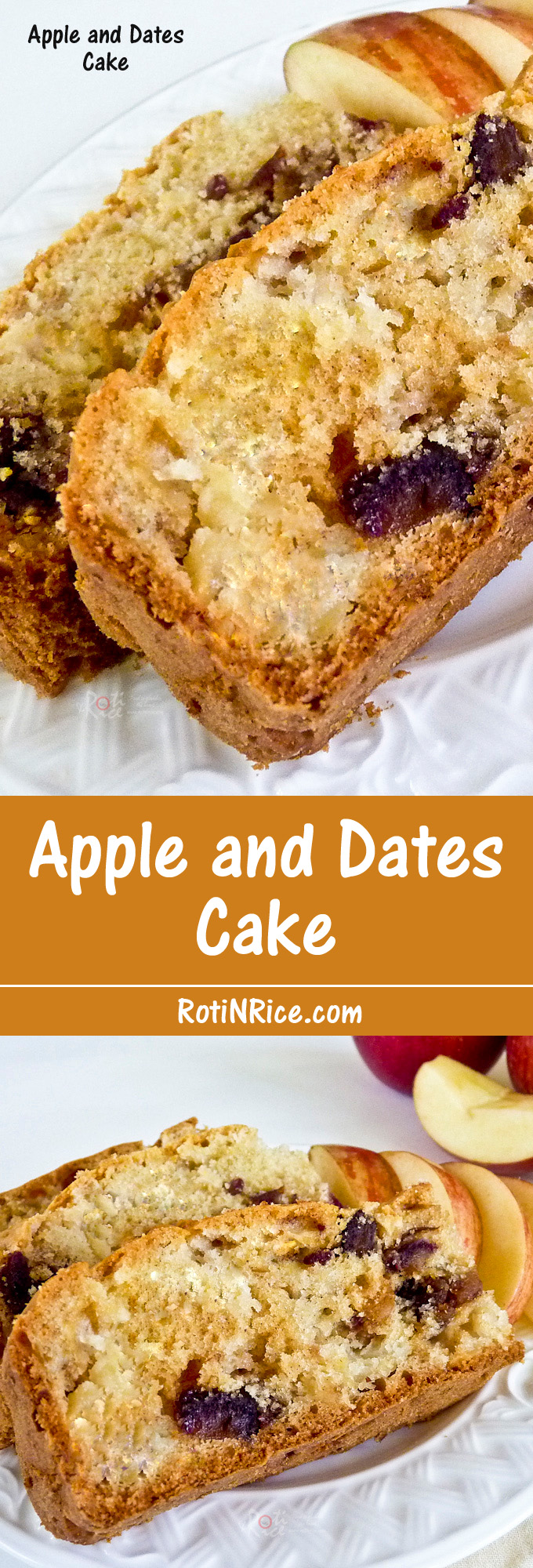 Use your favorite kind of apples and dates in this tender Apple and Dates Cake with vanilla extract for a sweet fragrance. | RotiNRice.com
