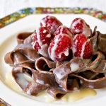 Chocolate Pasta with White Chocolate Liqueur Sauce