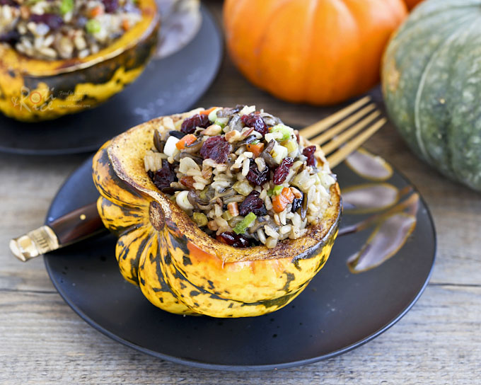 Cranberry Wild Rice Stuffed Squash