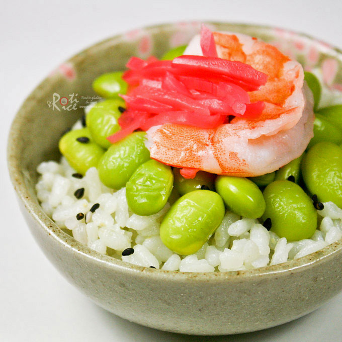 Chirashi with Jade Pearl Rice - scattered sushi with a hint of bamboo flavor topped with shrimps and edamame. Makes a lovely side dish. | RotiNRice.com