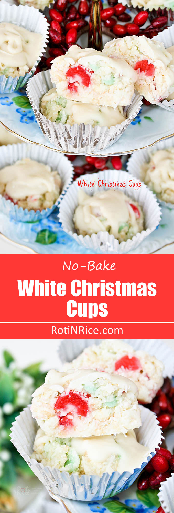 Rice krispies, coconut flakes, glazed cherries, mint chips, and chocolate combine to make these White Christmas Cups a gluten free and fun holiday treat. | RotiNRice.com