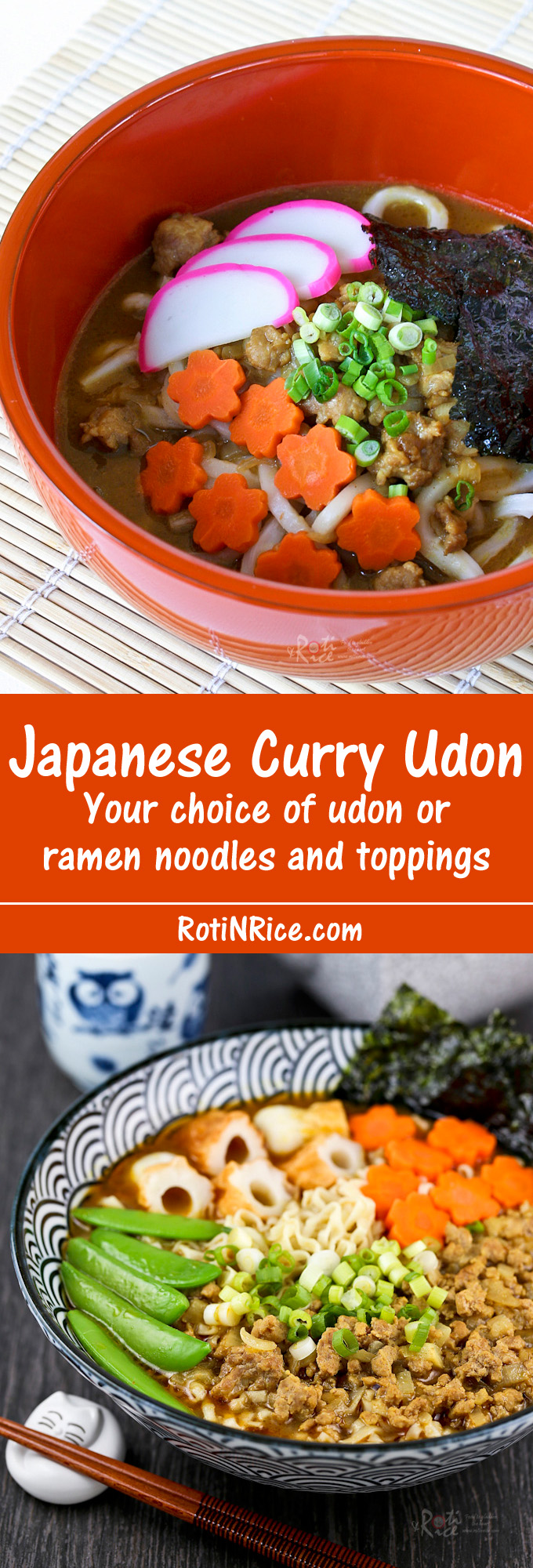 Quick and easy Japanese Curry Udon using convenient pre-packaged curry sauce mix. Your choice of udon or ramen noodles and toppings. | Food to gladden the heart at RotiNRice.com