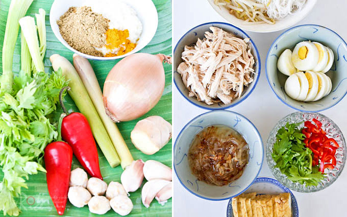 Soto Ayam is a yellowish spicy chicken soup, usually clear, served with nasi himpit (compressed rice cubes) or rice noodles with a variety of toppings. | RotiNRice.com