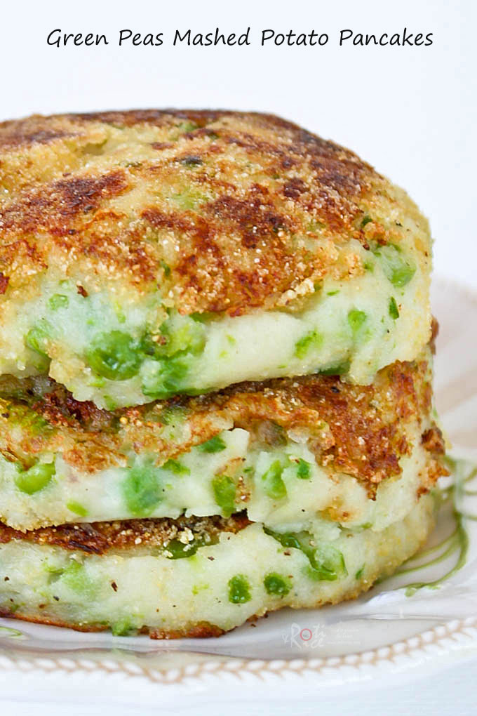 Green Peas Mashed Potato Pancakes - humble and tasty mashed potatoes dressed up with green peas and pan fried. Delicious as a side dish or snack. | RotiNRice.com