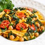 Fettuccini with Kale, Chickpeas, and Tomatoes