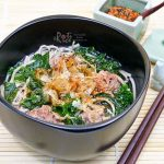 Beef Ball, Kale, and Soba Soup