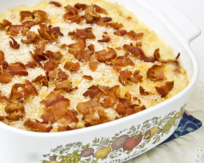 Yummiest ever Baked Macaroni and Cheese with Panko and Bacon - all the trappings of mac and cheese with added crisp crumb topping and bacon. | RotiNRice.com