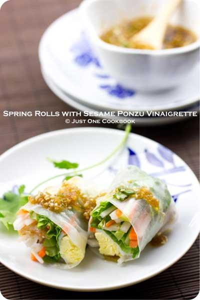 Spring Rolls with Sesame Ponzu Vinaigrette