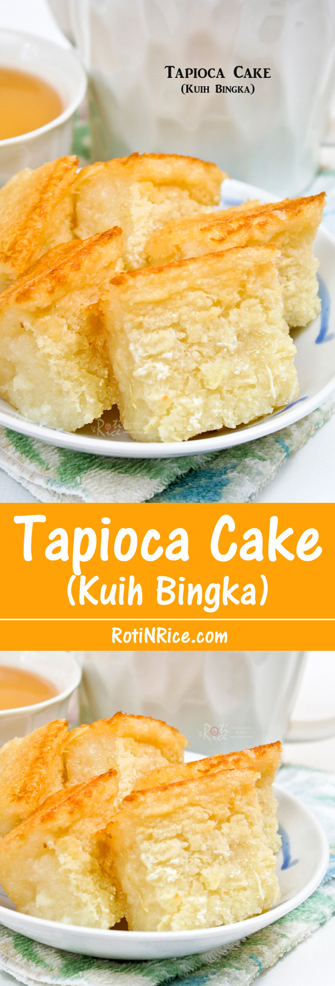 Tapioca Cake (Kuih Bingka), a Malaysian tea time favorite. Very easy to prepare with commercially available grated tapioca. Just mix and bake. | RotiNRice.com