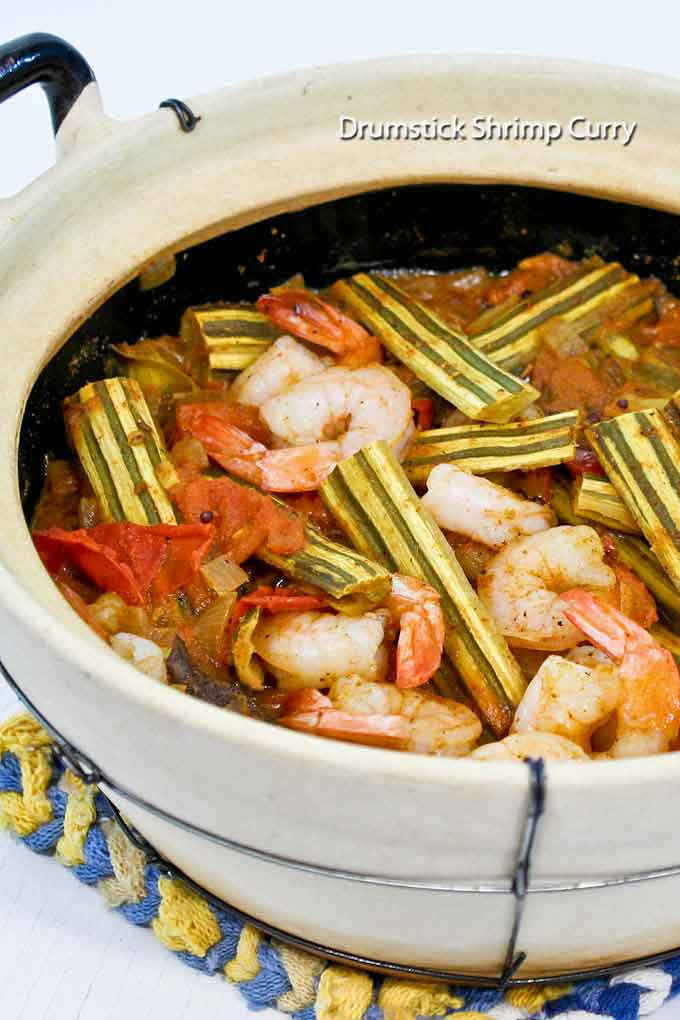 "This Drumstick Shrimp Curry features the immature pods of moringa oleifera. It is a must-try if you are curious about edible ""drumsticks"". 