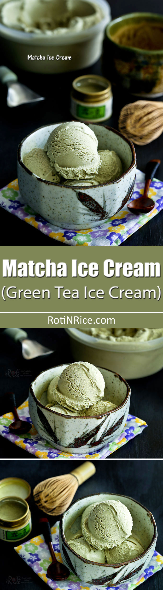 Treat family and friends to some delicious homemade Matcha Ice Cream. This simple eggless recipe is full of green tea flavor. | RotiNRice.com