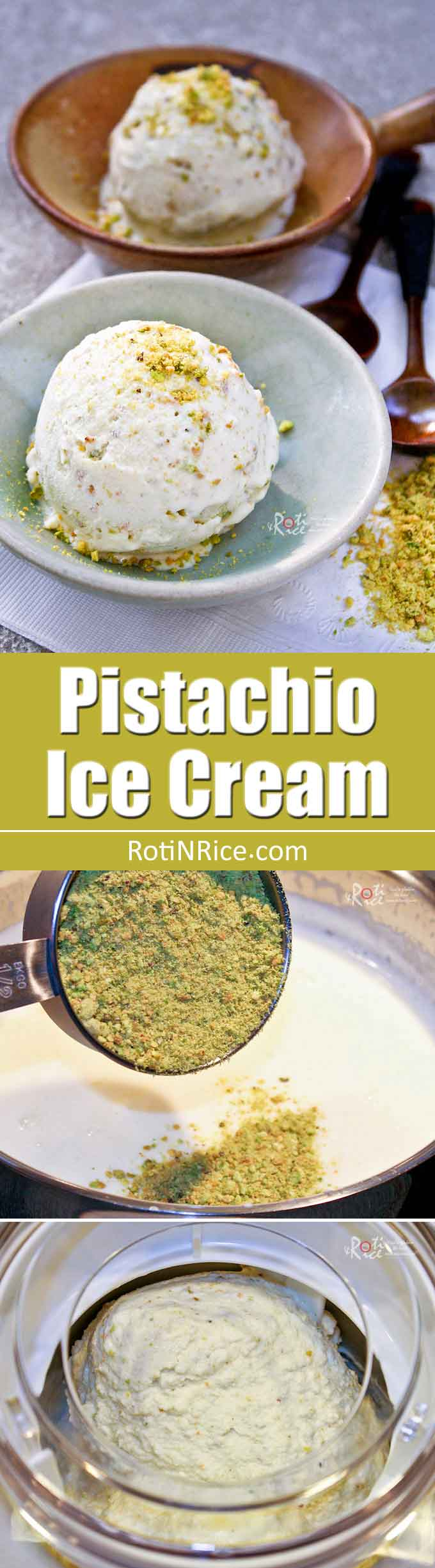 Super creamy egg free Pistachio Ice Cream. You'll be amazed by the silky smooth texture of this delightful frozen treat. A must try! | RotiNRice.com