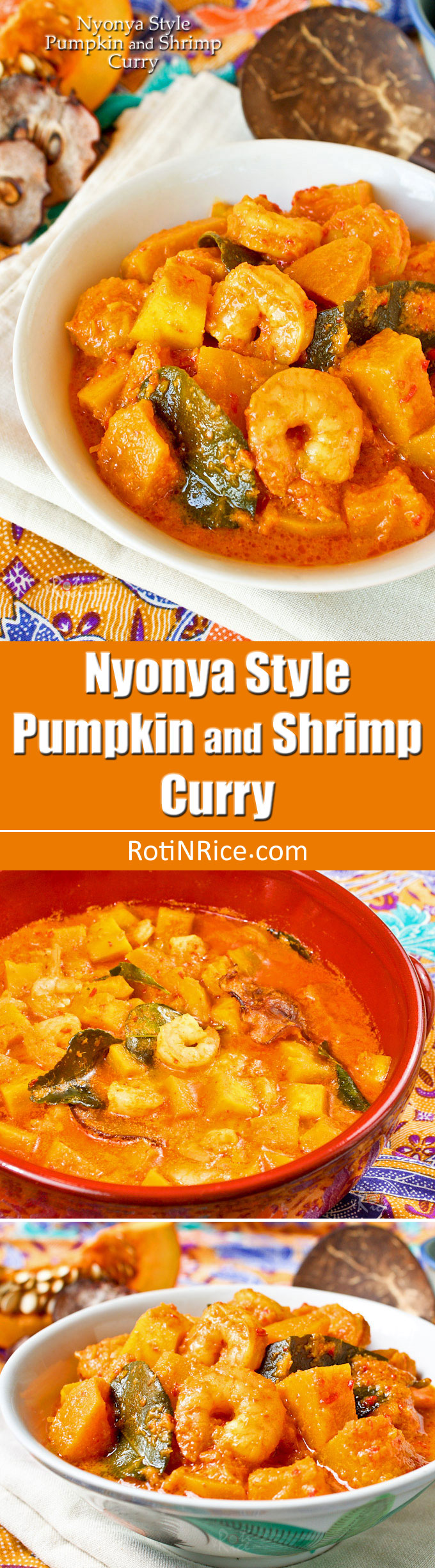 Aromatic Nyonya Style Pumpkin and Shrimp Curry in a creamy, spicy, and tangy sauce. Very appetizing and delicious served with rice. | RotiNRice.com