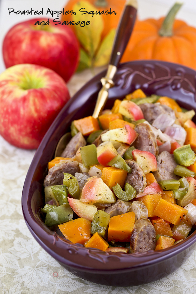 Use the abundance of fall harvest fruits and veggies in this Roasted Apples, Squash, and Sausage dish sweetened with a little maple syrup. It's delicious! | RotiNRice.com