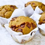 GF Pumpkin Muffins with Cinnamon Chips and Walnuts