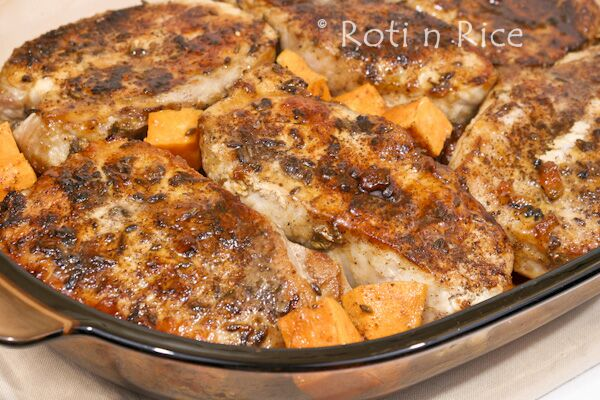 Lavender Spiced Pork Chops and Sweet Potatoes with Marmalade Glaze