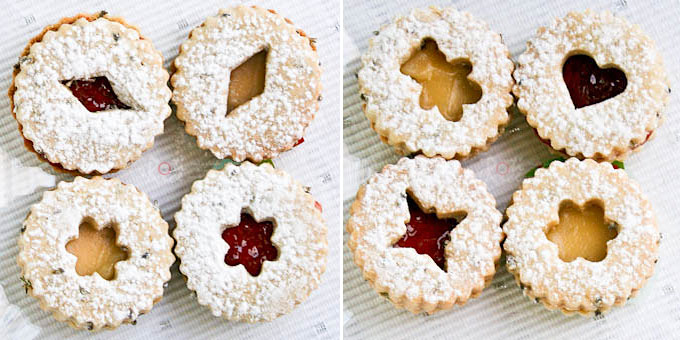 These sugar-dusted, jam-filled, egg-free, and sweetly scented Lavender Linzer Cookies are a must-have for the holidays. They are so festive and delicious! | RotiNRice.com