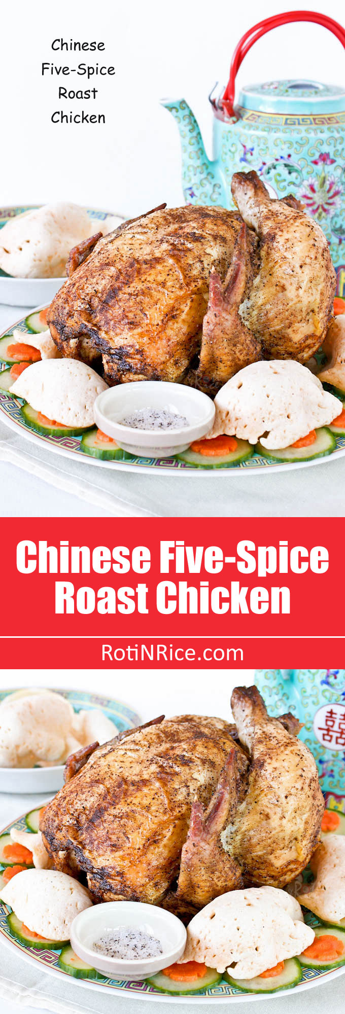 Fragrant crispy skin Chinese Five-Spice Roast Chicken served with pepper salt. Perfect for the Chinese New Year Reunion Dinner or a weekend dinner. | RotiNRice.com
