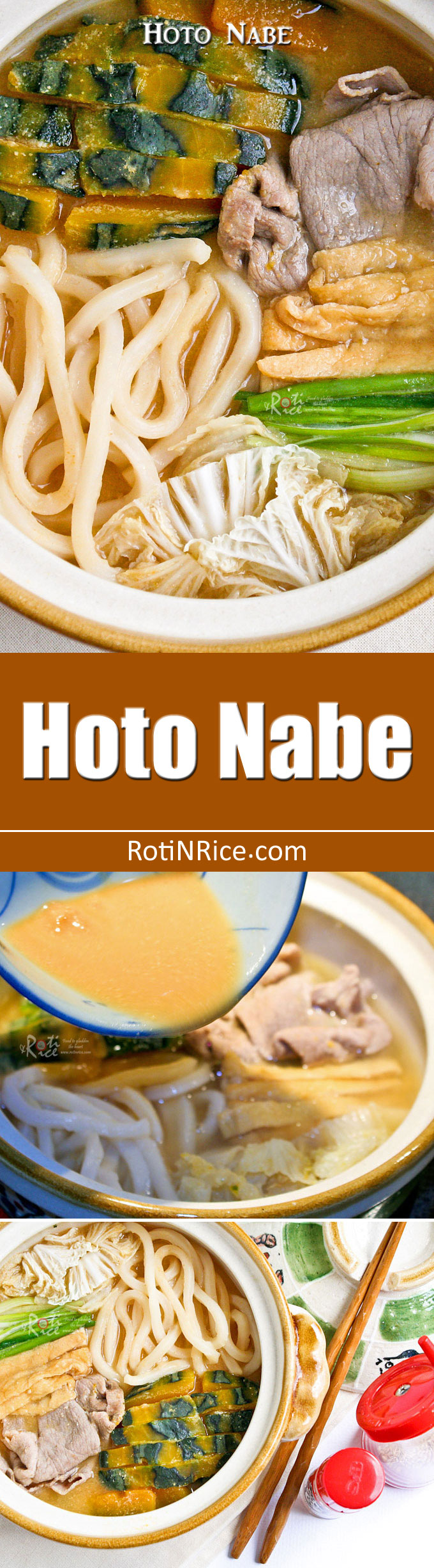 Warm and comforting Hoto Nabe (Flat Noodles Miso Hot Pot) with kabocha squash, thinly sliced pork, napa cabbage and tofu. Perfect for the cooler months! | RotiNRice.com