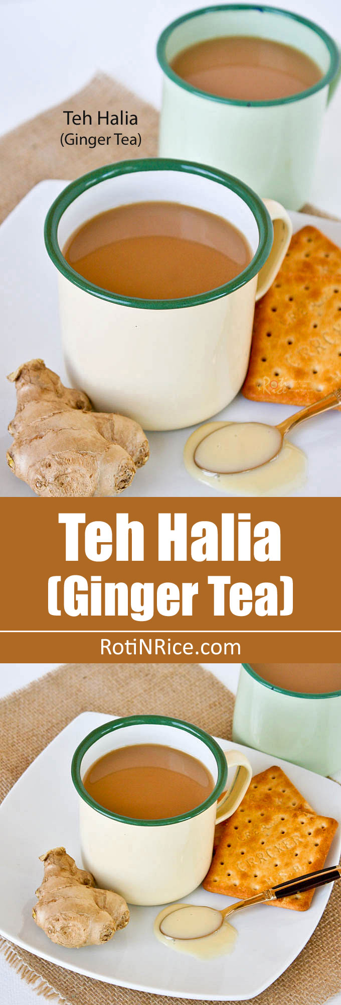 This comforting Teh Halia (Ginger Tea) with condensed milk will surely warm you up on chilly days. The ginger flavor can be as light or strong as desired. | RotiNRice.com