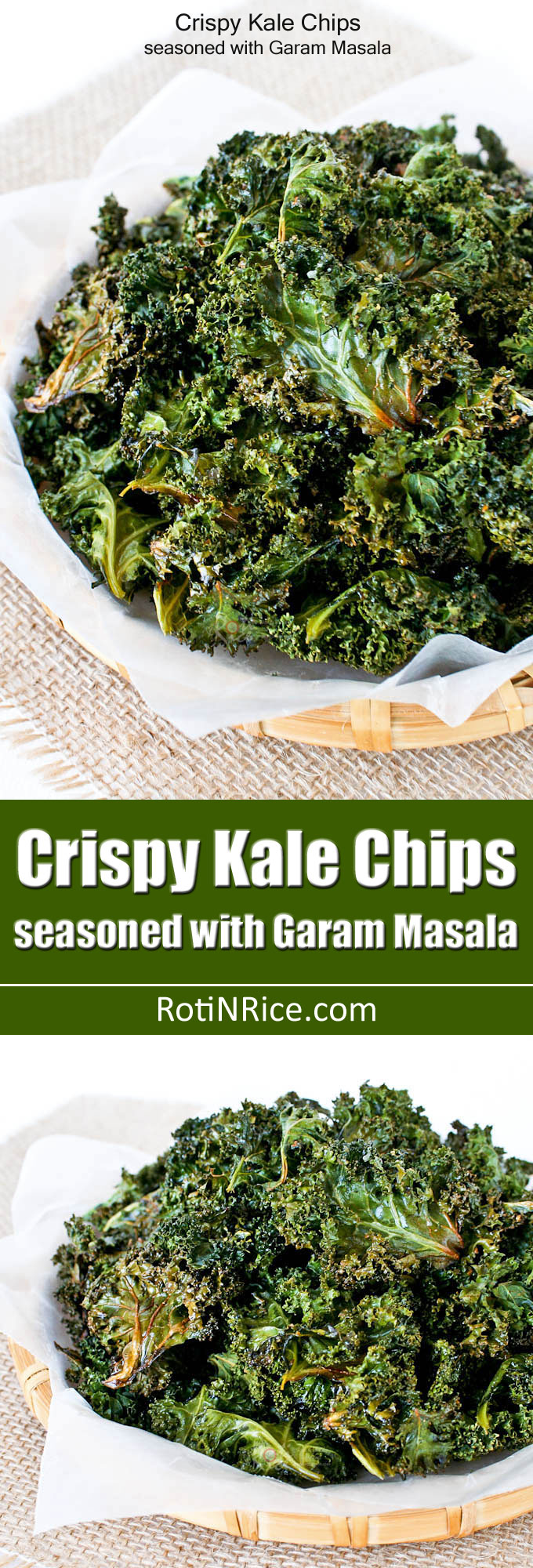 These baked Crispy Kale Chips Seasoned with Garam Masala are truly crispy and tasty. Only 4 ingredients. A must-try for sure! | RotiNRice.com