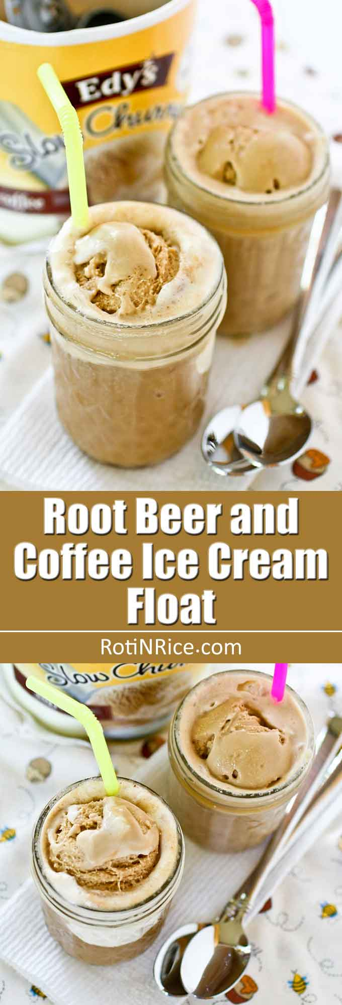 This Root Beer and Coffee Ice Cream Float is a variation on the classic. It has great flavor and is a delightful treat on a warm day. | RotiNRice.com