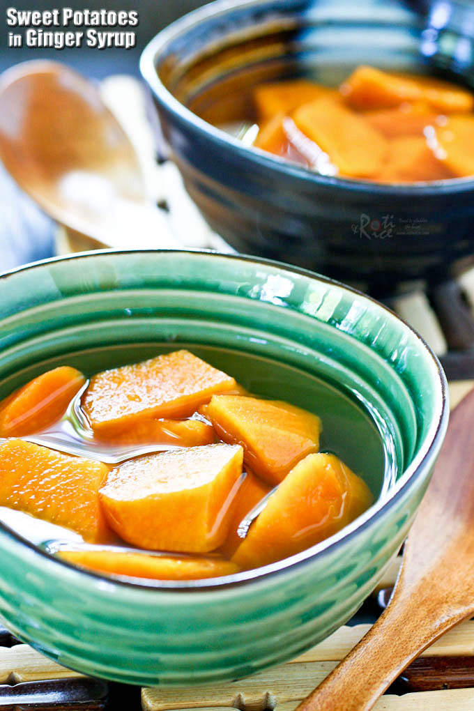 Sweet Potatoes in Ginger Syrup is a delicious and warming Chinese dessert using only a few ingredients. It takes less than 30 minutes to prepare. | RotiNRice.com