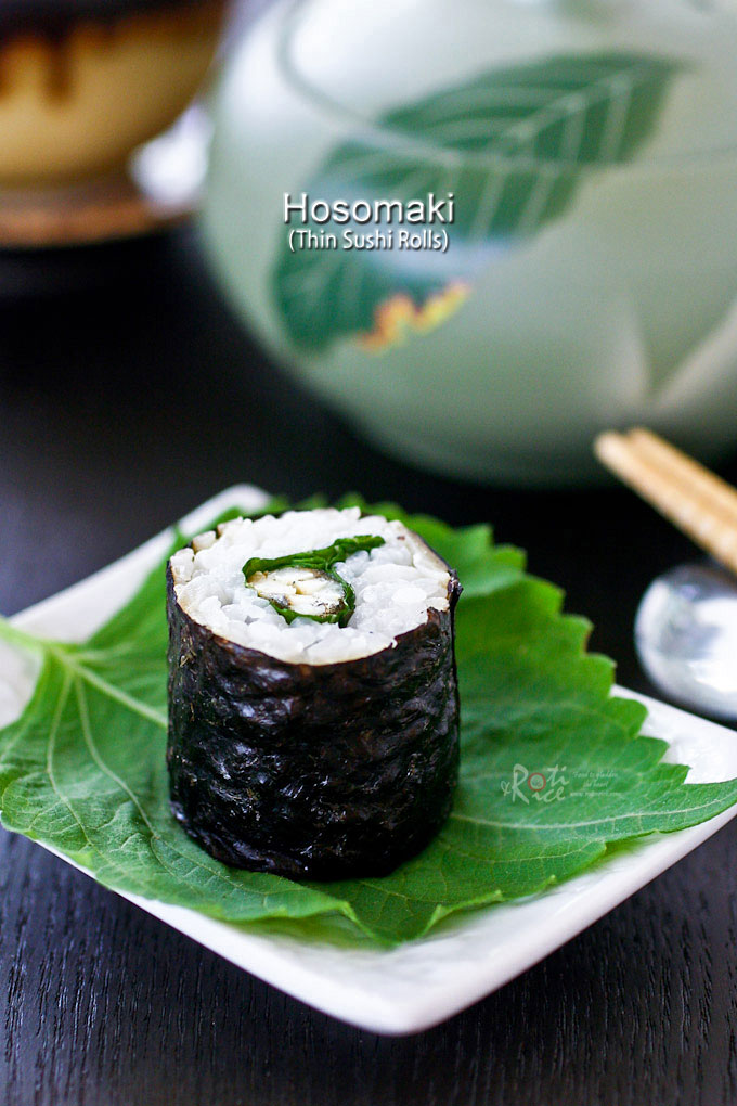 These Hosomaki - Thin Sushi Rolls with smelt are great as an appetizer. They are smaller and lighter with a slightly spicy and minty flavor from the shiso. | RotiNRice.com