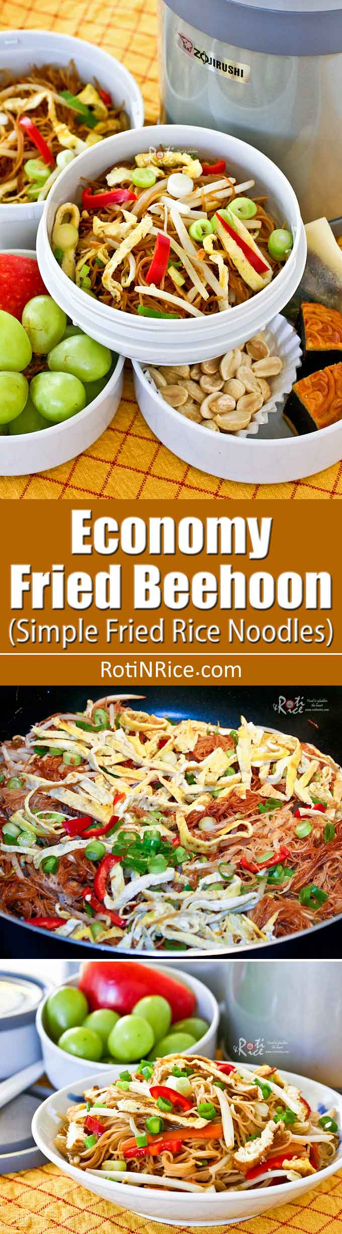 Economy Fried Beehoon is a simple vegetarian rice noodles stir fry. Can be served at room temperature for breakfast or lunch. Works well in the lunch box. | RotiNRice.com