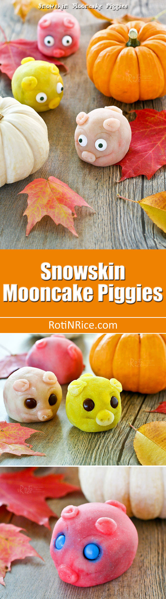Delightful gluten free Snowskin Mooncake Piggies with lotus and red bean paste filling for the Mid-Autumn or Mooncake Festival. | RotiNRice.com