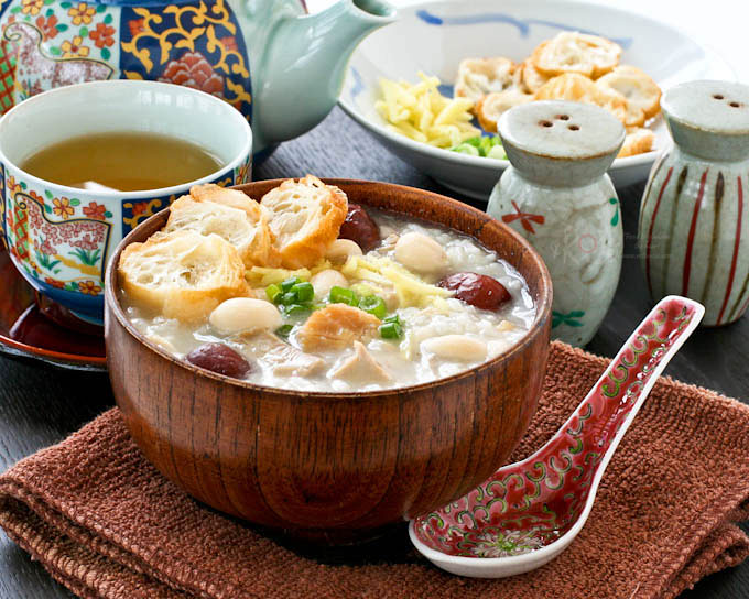 Turkey Rice Porridge with Peanuts and Scallops