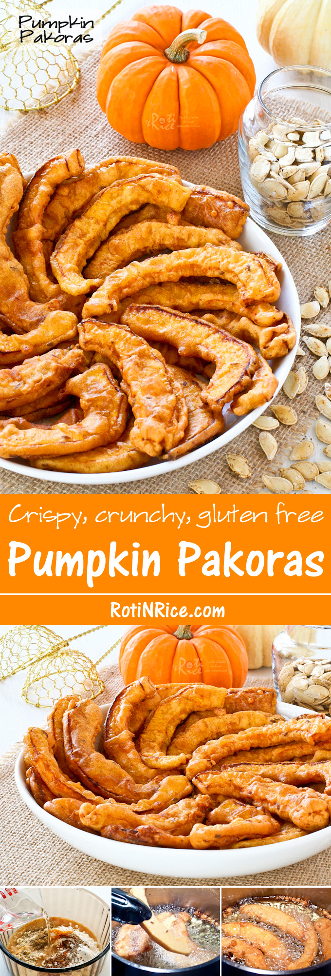 Golden Pumpkin Pakoras coated with chickpea flour, garam masala, chili powder, ground turmeric, and cumin seeds. They are crispy crunchy and gluten free. | RotiNRice.com