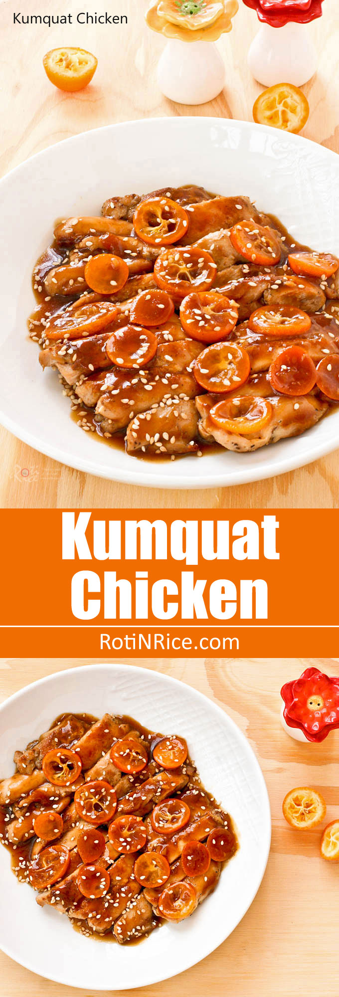 Kumquat Chicken - pan fried boneless skinless chicken thighs drenched with a sweetish kumquat and hoisin based sauce and a sprinkling of sesame seeds. | RotiNRice.com