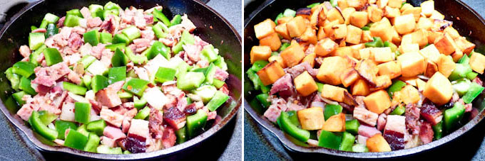 Sweet Potato, Ham, and Cheese Skillet-10