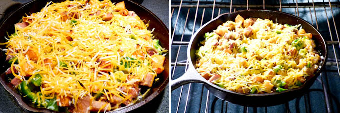Sweet Potato, Ham, and Cheese Skillet-11
