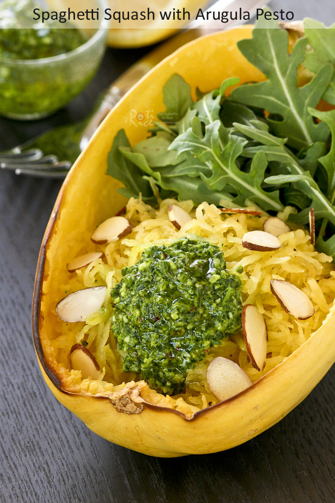Make a light and incredibly tasty salad or meal with this Spaghetti Squash with Arugula Pesto. It is perfect for those on a gluten free diet. | Food to gladden the heart at RotiNRice.com