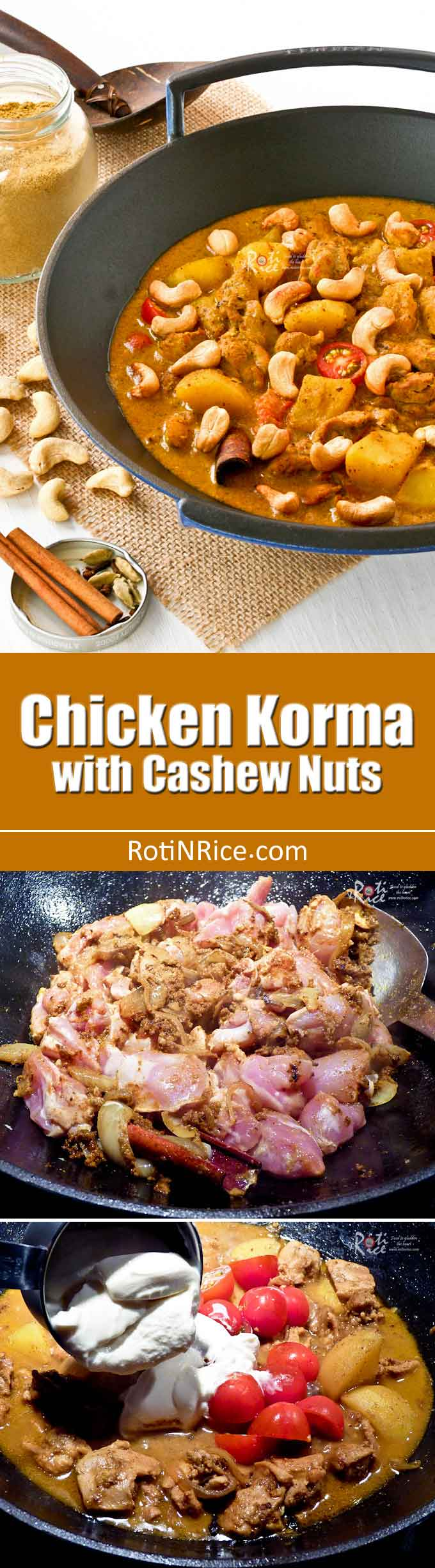 This creamy and fragrant Chicken Korma with Cashew Nuts is perfect for those with a milder palate. It is delicious served with fluffy steamed basmati rice. | RotiNRice.com