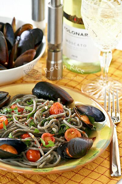 Squid Ink Spaghetti with Mussels