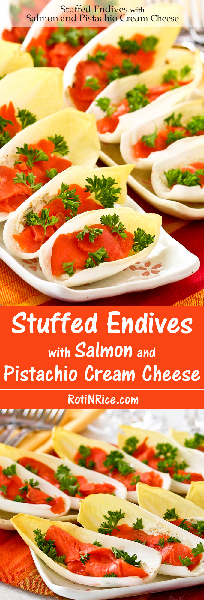 These Stuffed Endives with Salmon and Pistachio Cream Cheese are an easy, attractive, and tasty appetizer to put together when there is company. | Food to gladden the heart at RotiNRice.com