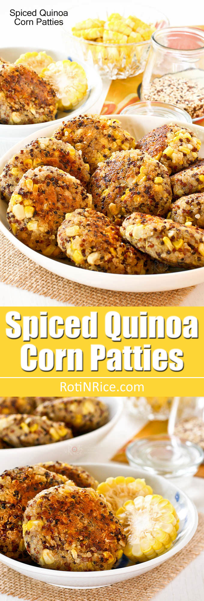 Tasty and fragrant Spiced Quinoa Corn Patties flavored with garam masala. Great as an appetizer, snack or side dish. Also works beautifully in the lunchbox. | RotiNRice.com