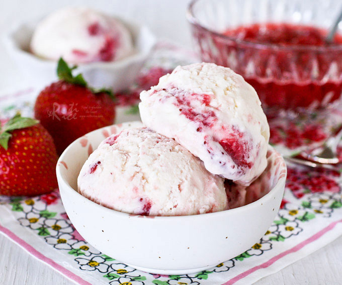 Strawberry Swirl Cream Cheese Ice Cream - a delightfully creamy homemade vanilla cream cheese ice cream swirl with a simple homemade strawberry sauce. | RotiNRice.com
