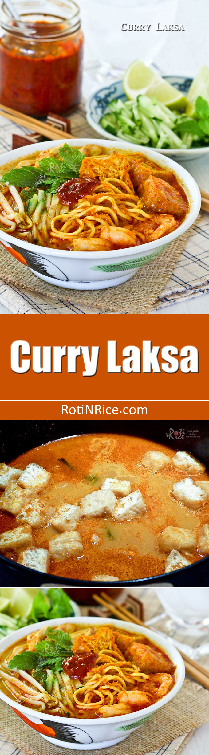 Curry Laksa, a tasty and spicy Malaysian coconut based curried noodle soup topped with shredded chicken, shrimps, fried tofu, and bean sprouts. | RotiNRice.com